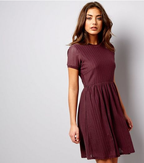 Burgundy Cut Out Short Sleeve Skater Dress | New Look