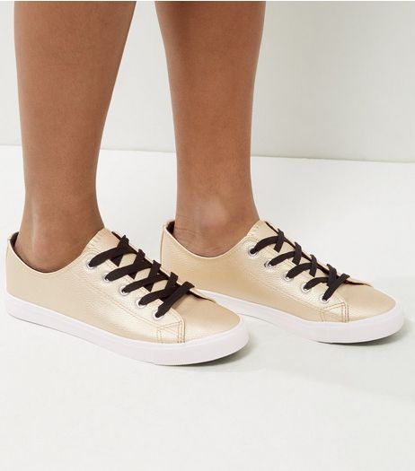 Gold Contrast Lace Up Trainers | New Look