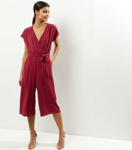 Burgundy Wrap Front Culotte Jumpsuit  | New Look