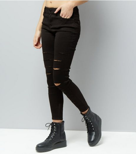 Black Extreme Ripped Super Soft Super Skinny India Jeans | New Look