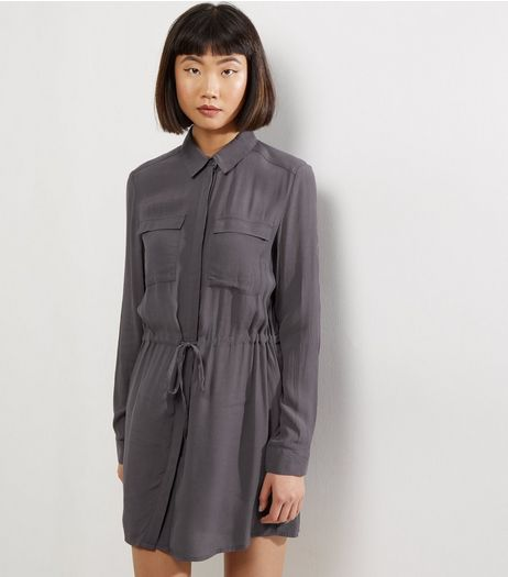 Dark Grey Drawstring Waist Shirt Dress | New Look