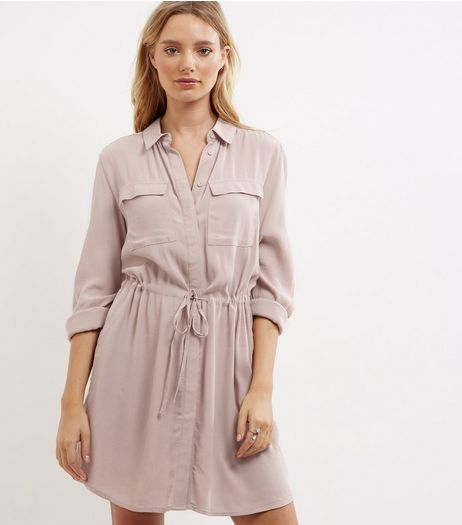 Mid Pink Drawstring Waist Shirt Dress | New Look