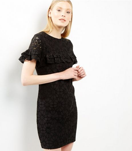 Black Lace Frill Trim Tunic Dress | New Look