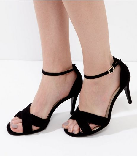 Wide Fit Black Comfort Suedette Cross Front Heels | New Look