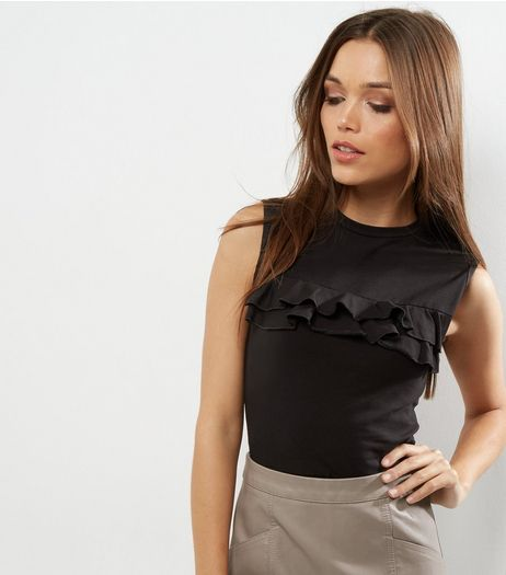 Black Frill Trim Tank Top | New Look