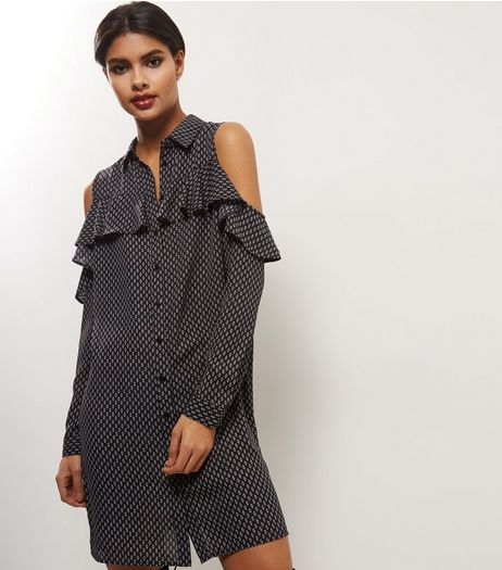 Black Polka Dot Print Frill Trim Cold Shoulder Shirt Dress | New Look