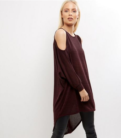 Burgundy Cold Shoulder Batwing Sleeve Oversized Top | New Look