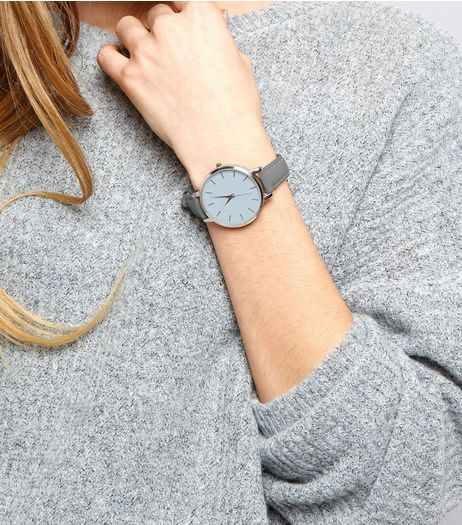 Grey Leather-Look Skinny Strap Watch | New Look
