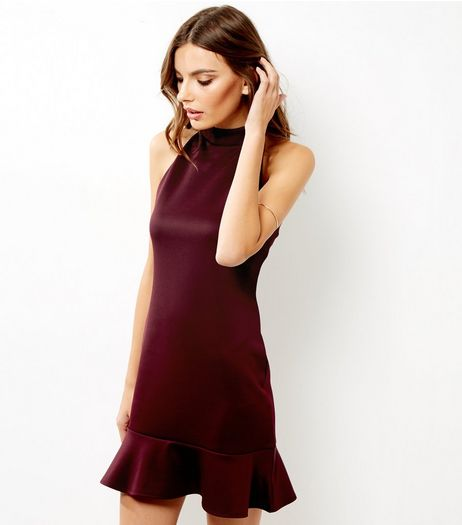 Burgundy Peplum Hem Sleeveless Bodycon Dress | New Look