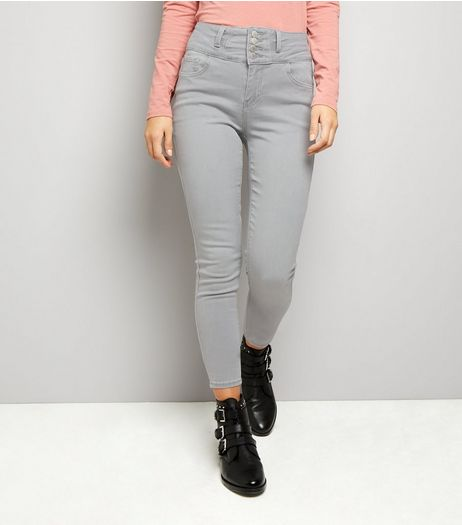 Grey High Waist Skinny Yazmin Jeans  | New Look