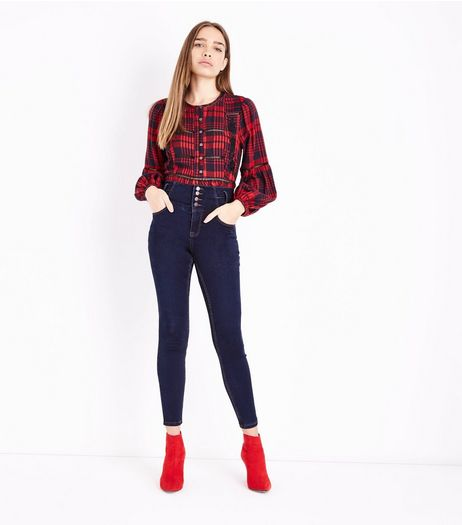 Dark Blue High Waist Skinny Yazmin Jeans | New Look