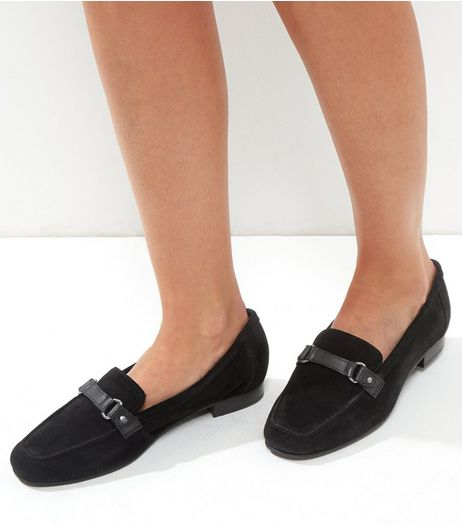 Wide Fit Black Suede Loafers | New Look