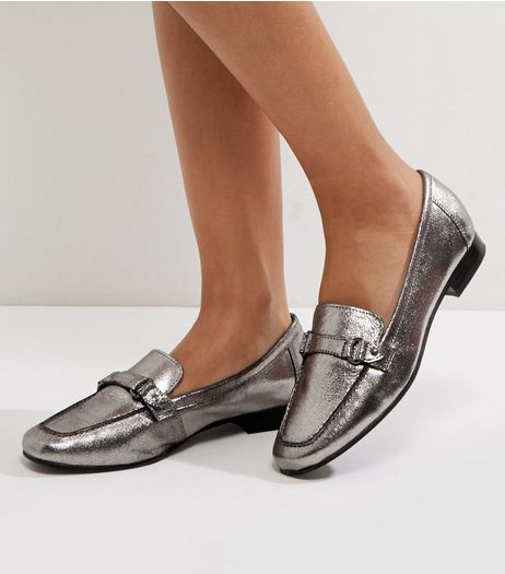 Wide Fit Silver Suede Loafers | New Look