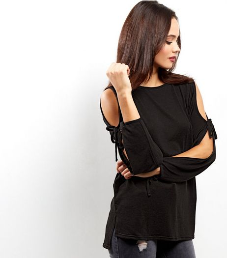 Black Tie Sleeve Top  | New Look