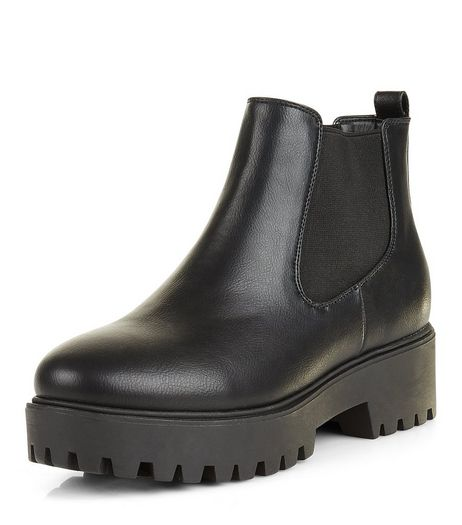 Teens Black Chunky Cleated Sole Chealsea Boots | New Look
