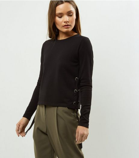 Black Eyelet Trim Side Jumper  | New Look