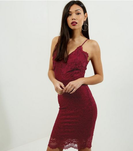 Red Lace Trim Strappy Bodycon Midi Dress | New Look