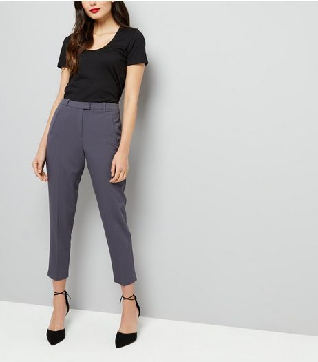Dark Grey Slim Leg Cropped Trousers | New Look