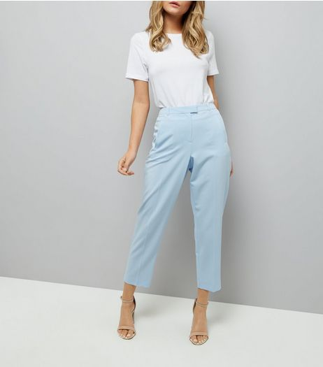 Pale Blue Slim Leg Cropped Trousers | New Look