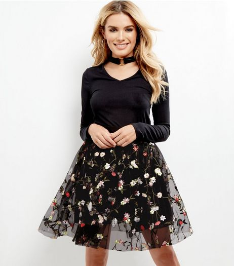 Black Mesh Floral Embroidered Skater Skirt  | New Look