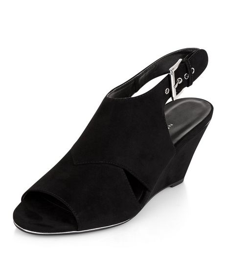 Teens Black Suedette Slingback Wedge Heels | New Look