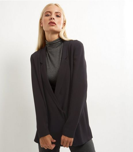 Black Crepe Wrap Front Blazer  | New Look