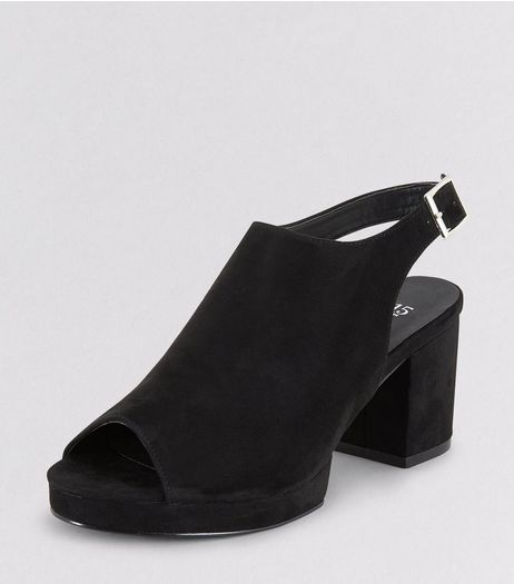 Teens Black Suedette Platform Heels | New Look