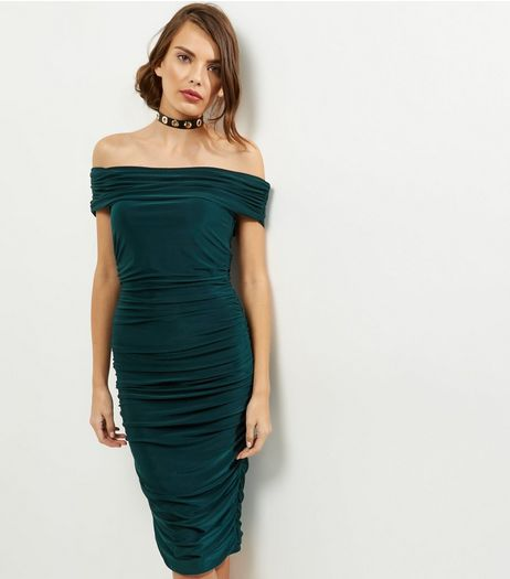 AX Paris Blue Bardot Neck Ruched Dress | New Look