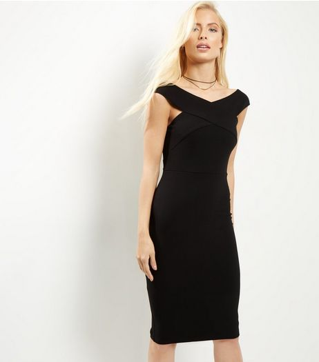 AX Paris Black Cross Front Midi Dress | New Look