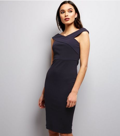 AX Paris Navy Cross Front Midi Dress | New Look