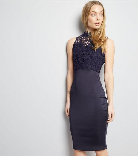 AX Paris Navy Lace Neck Midi Dress | New Look