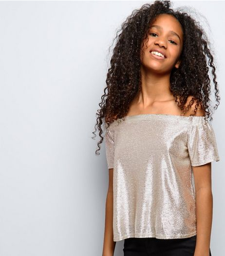 Teens Gold Metallic Bardot Neck Top | New Look