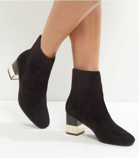 Wide Fit Black Suedette Metal Trim Block Heel Boots | New Look