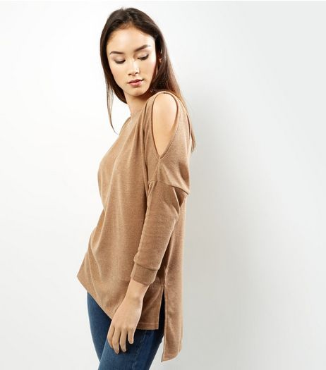 AX Paris Camel Split Sleeve Knitted Top  | New Look