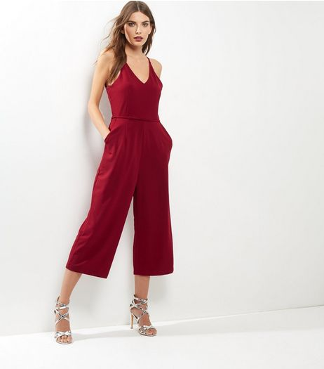 AX Paris Dark Red Culotte Jumpsuit  | New Look