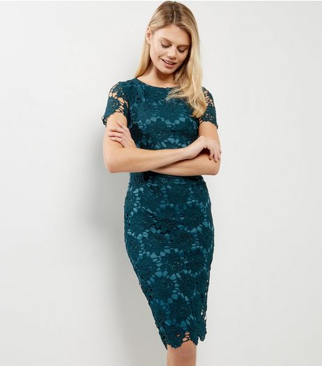 AX Paris Blue Crochet Lace Cap Sleeve Midi Dress | New Look