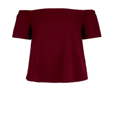 Teens Burgundy Bardot Neck Top | New Look