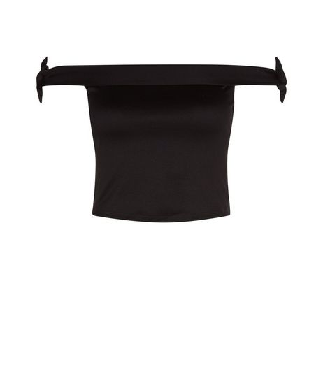 Teens Black Bardot Neck Tie Sleeve Top | New Look