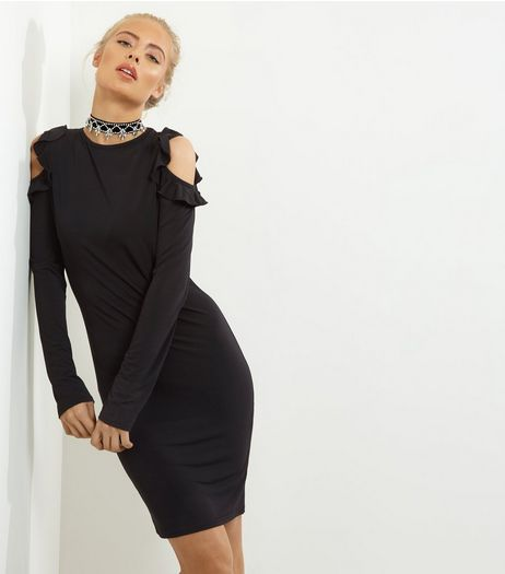 Black Frill Trim Cold Shoulder Bodycon Dress | New Look
