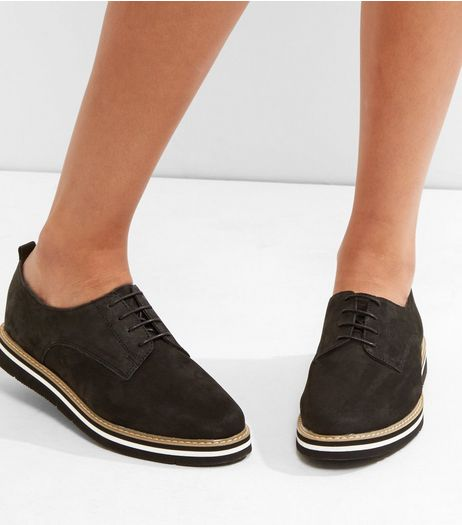 Black Suede Lace Up Contrast Trim Shoes | New Look
