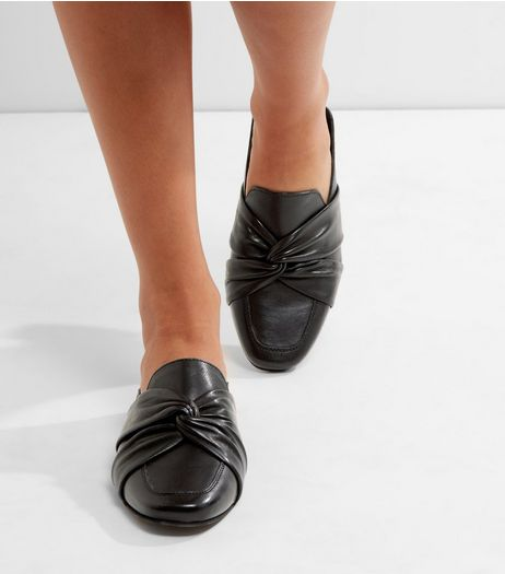 Black Leather Twist Front Mules | New Look