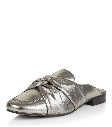 Silver Leather Twist Front Mules | New Look