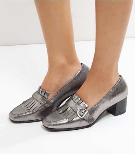 Wide Fit Pewter Leather Metallic Block Heel Loafers | New Look