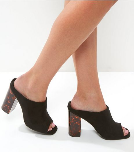 Black Suedette Tortoise Shell Block Heel Mules | New Look