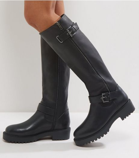 Wide Fit Black Chunky High Knee Biker Boots | New Look