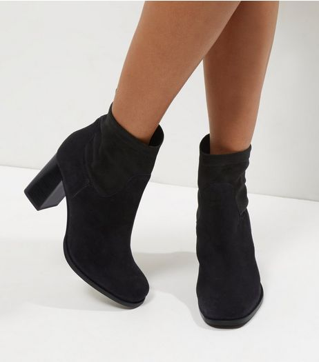 Wide Fit Black Suede High Ankle Boots | New Look