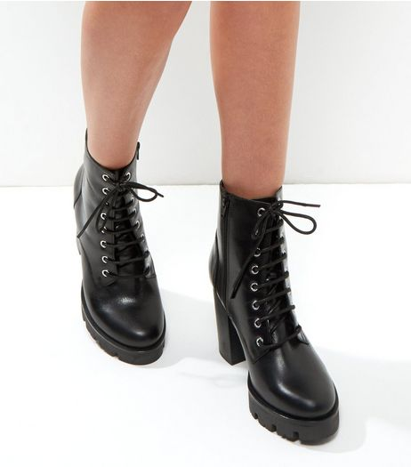 Wide Fit Black Leather Chunky Lace Up Boots | New Look