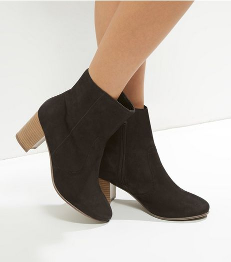 Wide Fit Black Suede Contrast Sole Heeled Ankle Boots | New Look