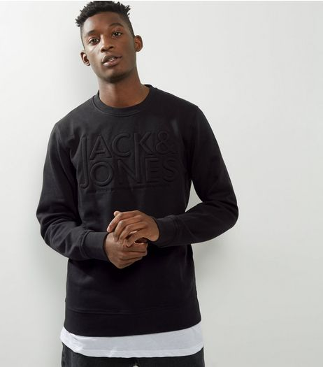 Jack & Jones Black Embossed Crew Neck Sweater | New Look