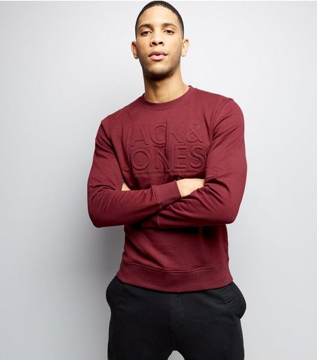 Burgundy Premuim Jack & Jones Embossed Crew Neck Sweater | New Look